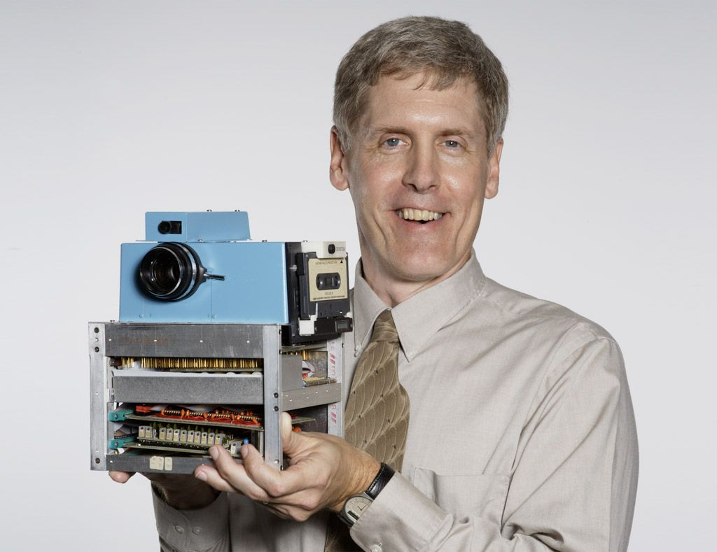 Steve Sassoon, Inventor of the Digital Camera. Super-8 camera lens, cassette recorder, NIC-d batteries and an analog-to-digital converter.