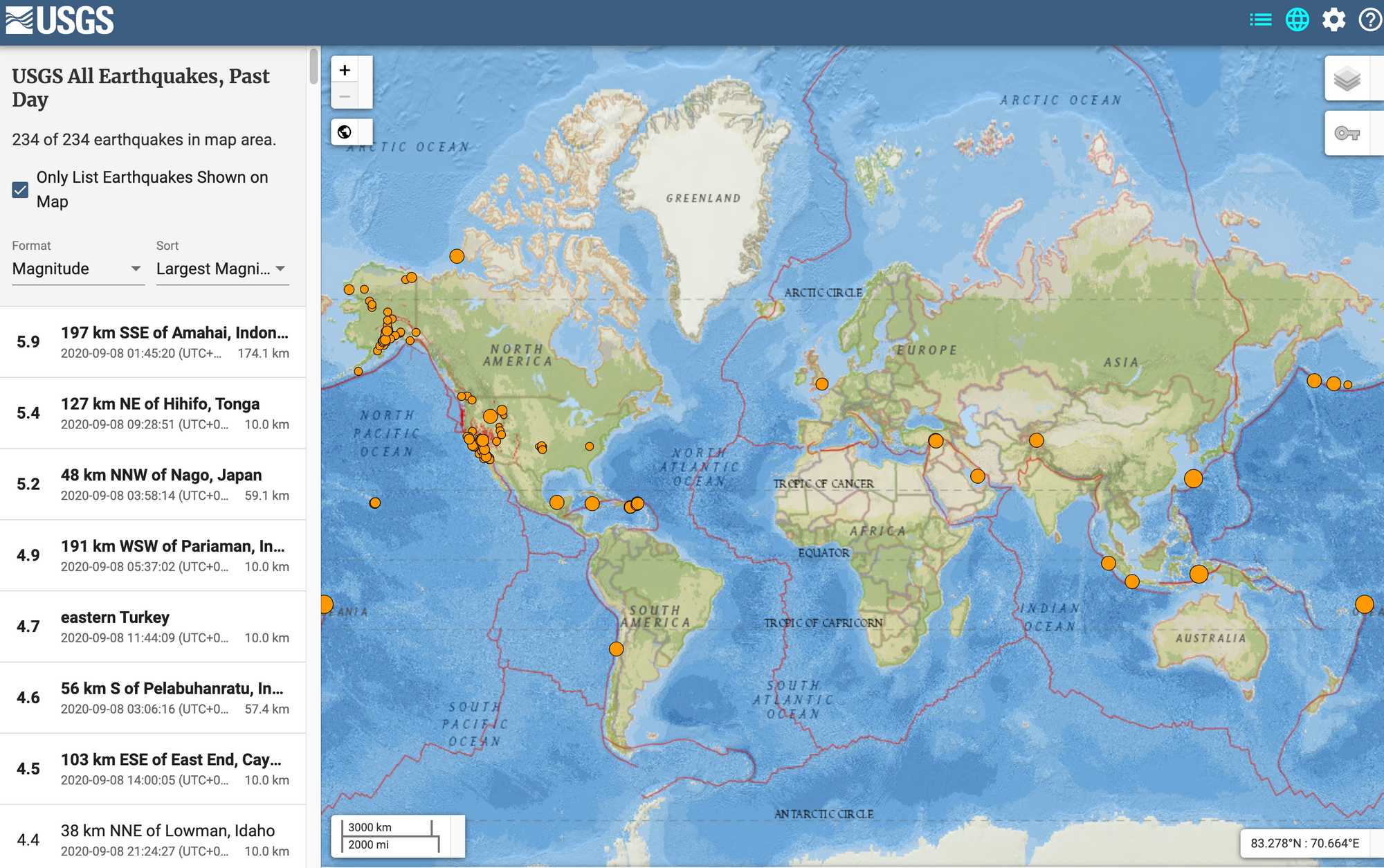 All earthquakes recorded on 8th September 2020: US Geological Survey