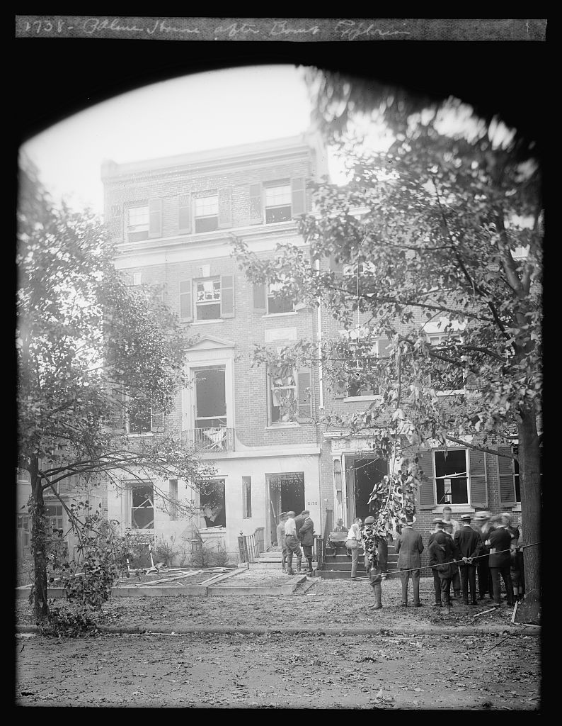 Attorney-General Palmer's Washington home in the aftermath of Valdinoci's bomb. Source: FBI