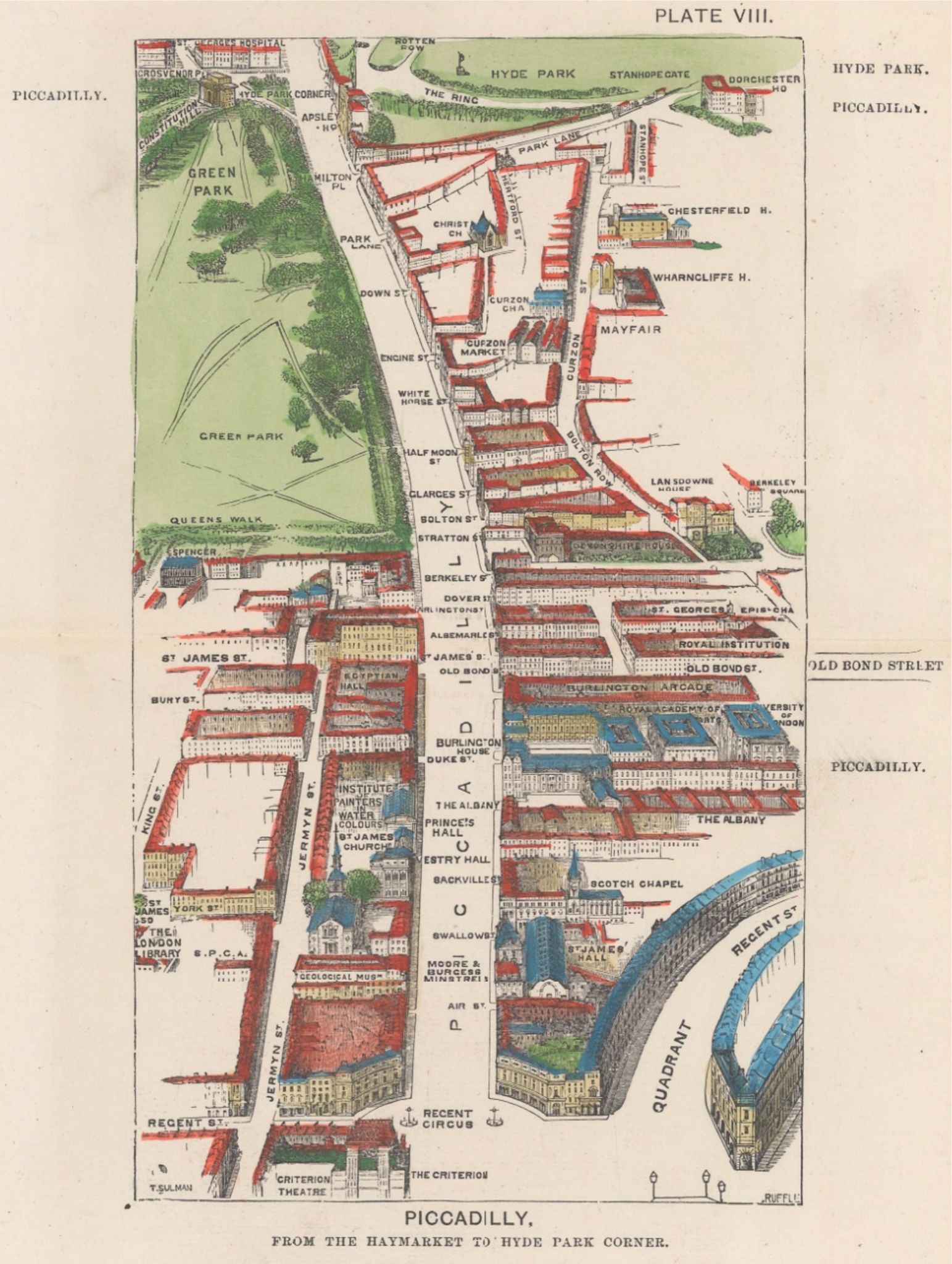 Birds Eye View Map of Piccadilly illustrating Mayfair by Engraver Thomas Sulman from 1880.