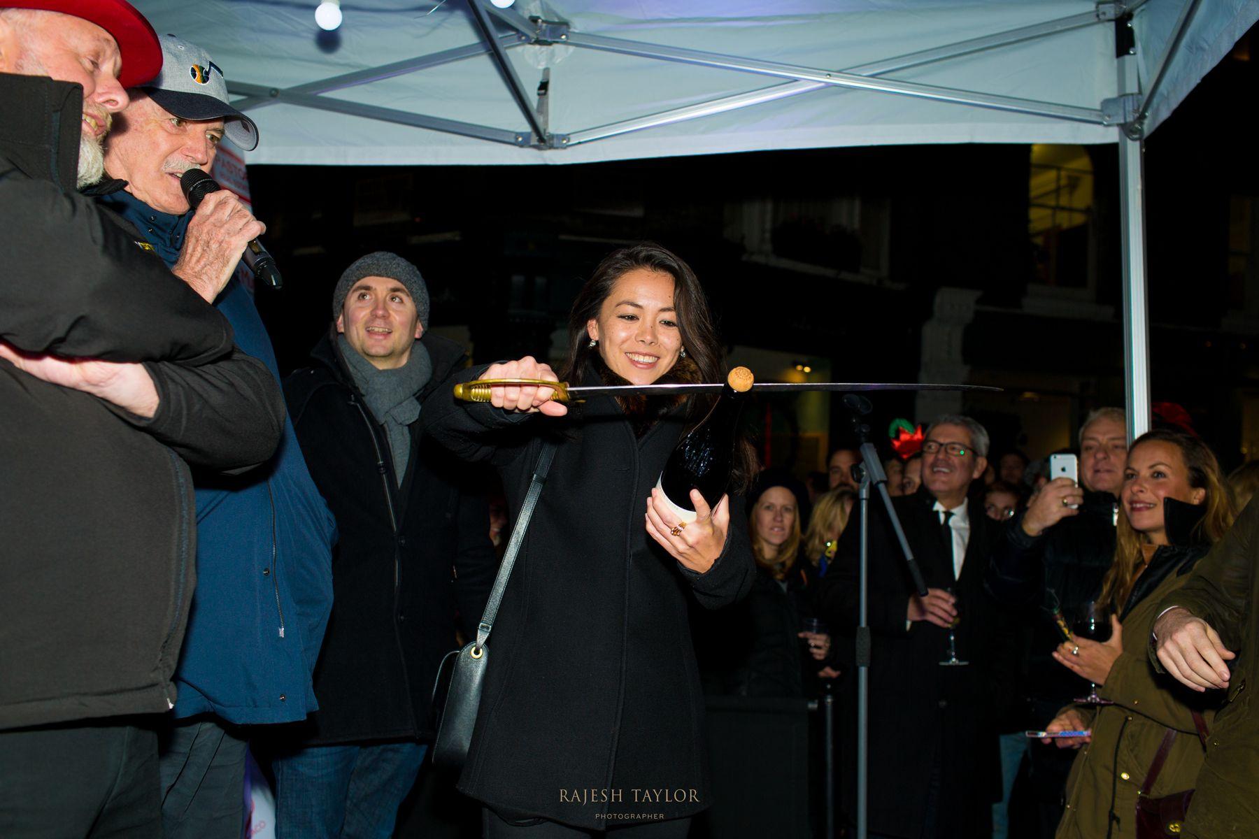 Ms Sophie Lew preparing for the crowds' countdown led y John Cleese © Rajesh Taylor