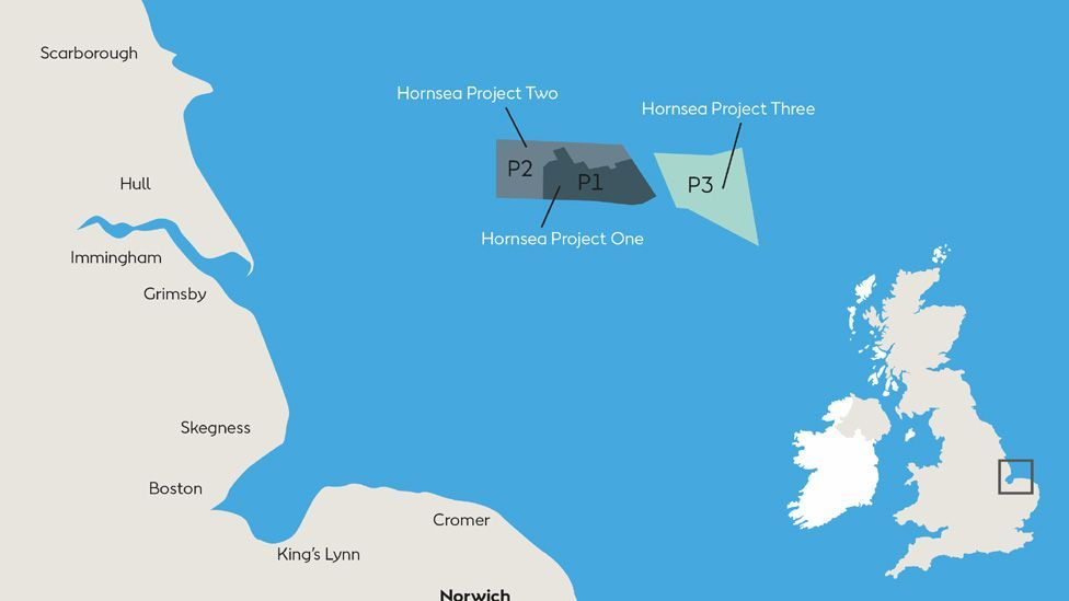 Location of Hornsea offshore Wind farm Projects 1,2 and 3