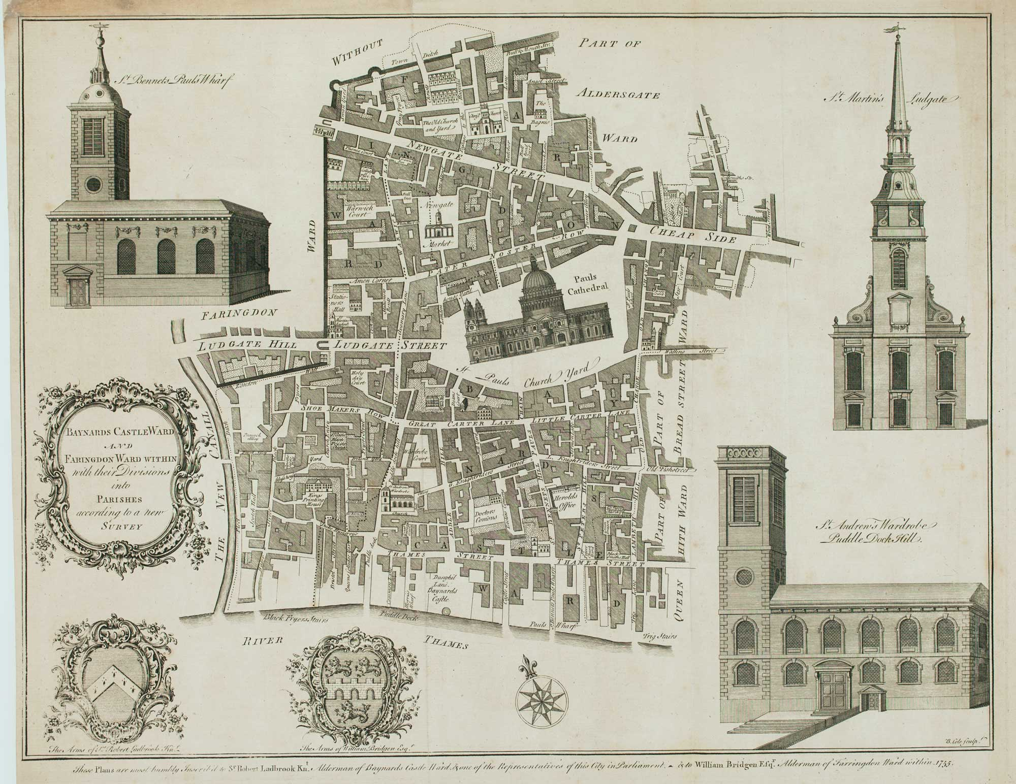 St Paul's Cathedral within the Ward of Baynards Castle & Farringdon by Benjamin Cole 380 x 480mm