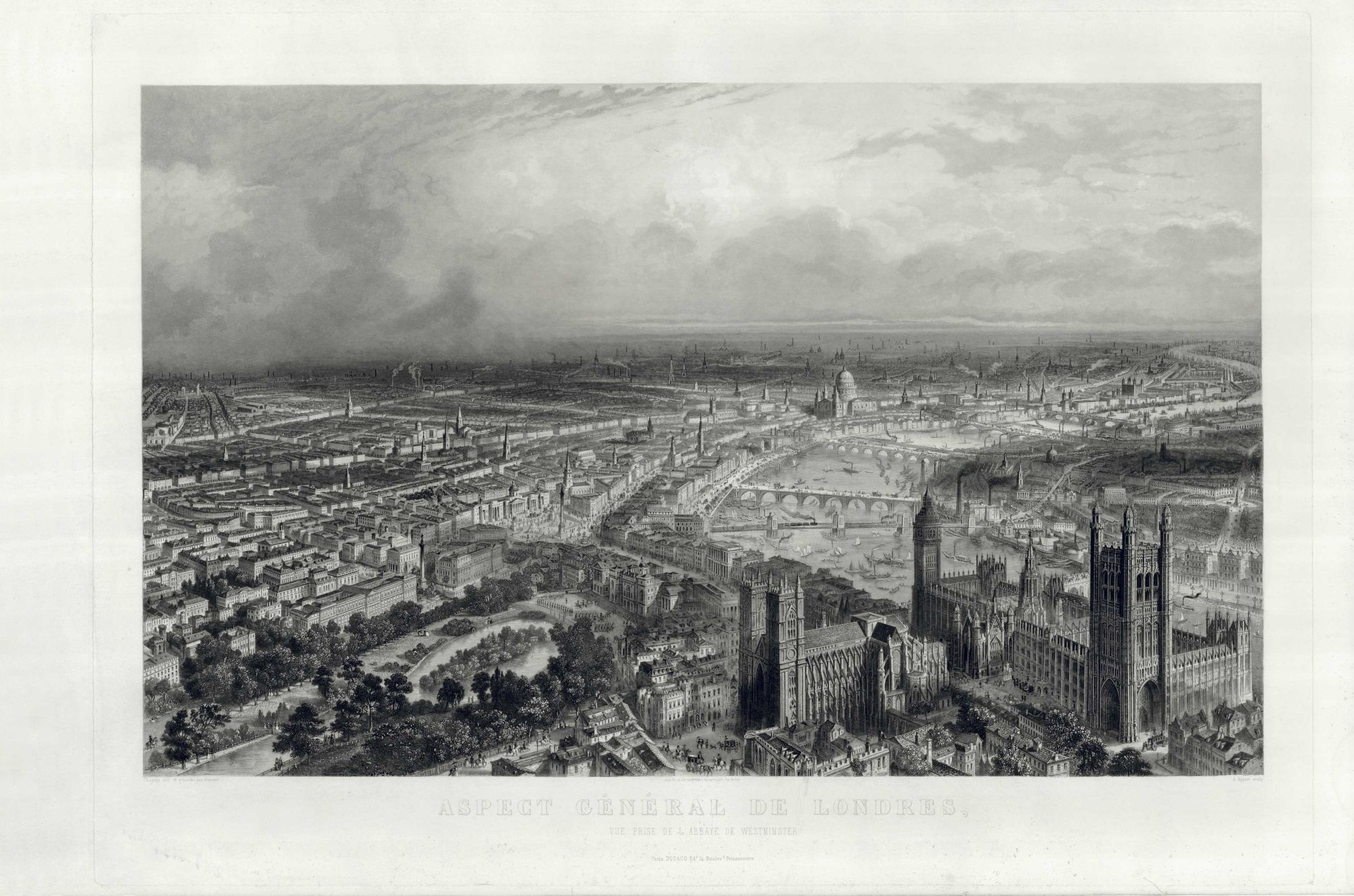 Balloon view of the City of Westminster eastwards to The City of London 1870.