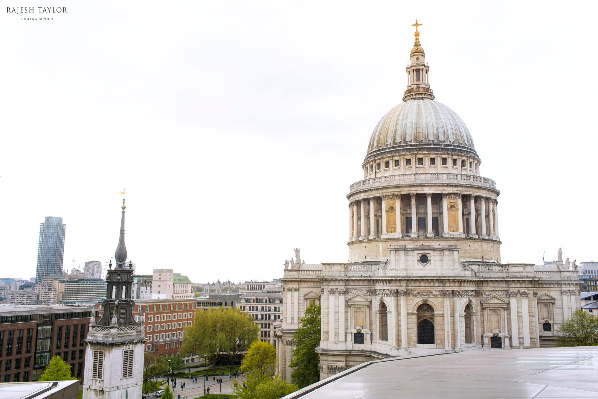 Rooftop views of St Paul's Cathedral towards Ludgate Hill © Rajesh Taylor