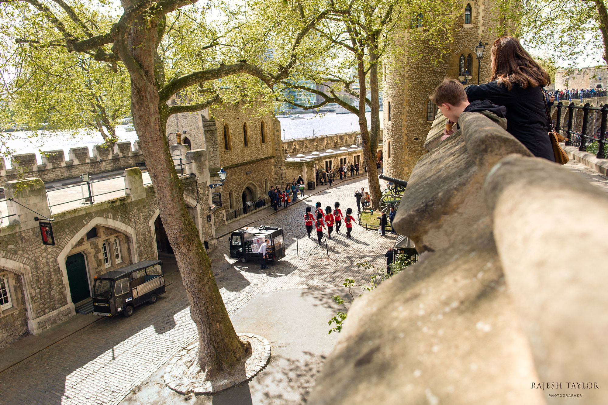(L) St Thomas Tower (C) Royal Guards (R) Lanthorn Tower inside The Tower of London ©Rajesh Taylor