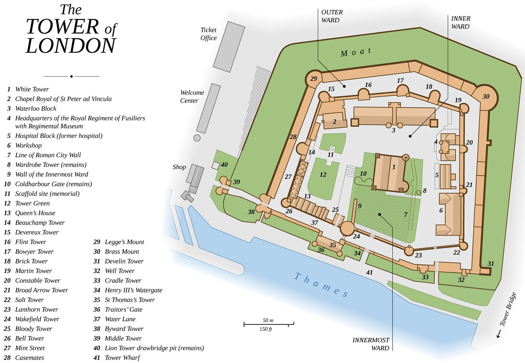The Tower of London's layout
