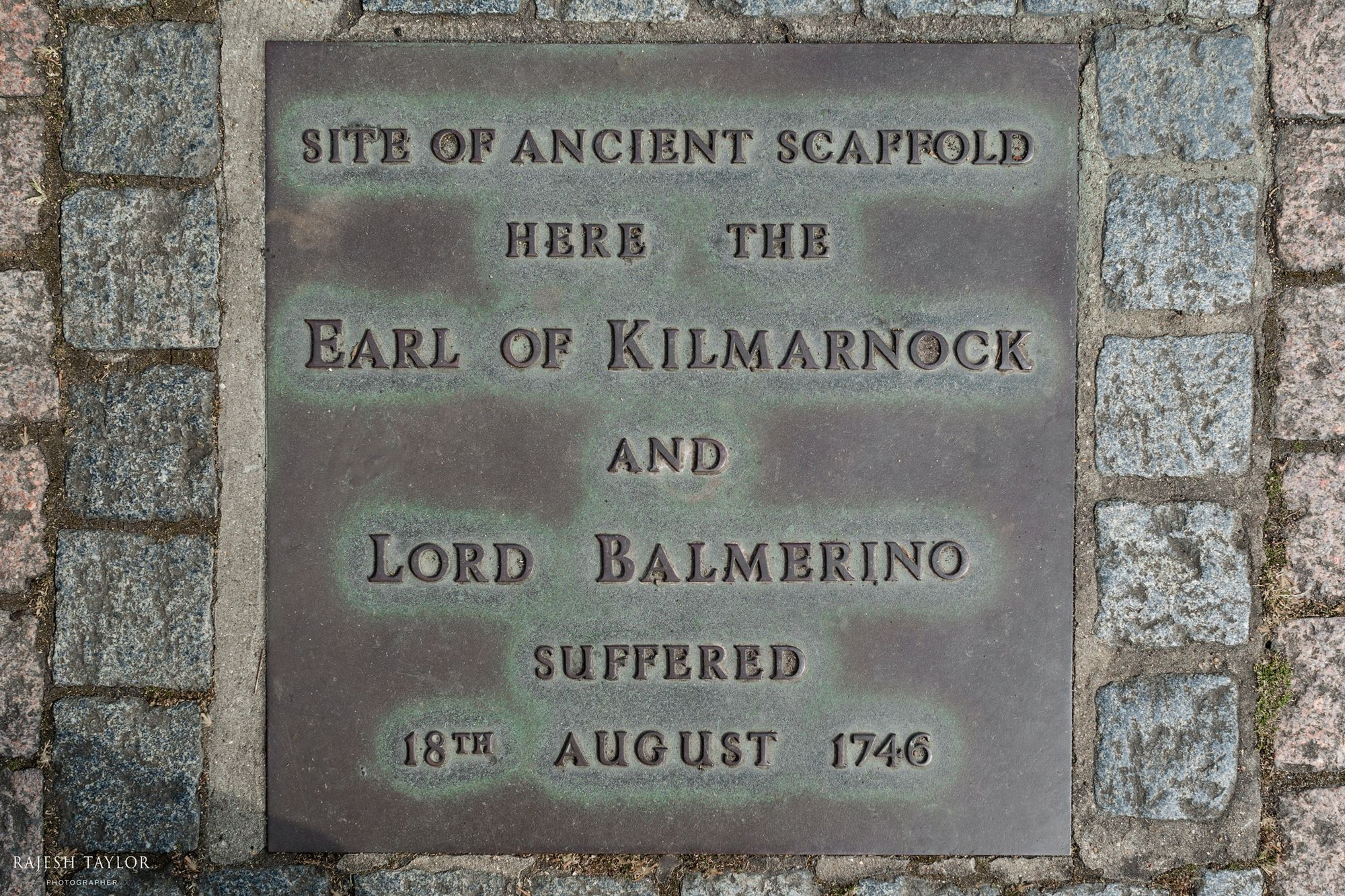 Memorial to Earl Kilmarnock and Lord Balmerino at Site of the Scaffold, Tower Hill © Rajesh Taylor