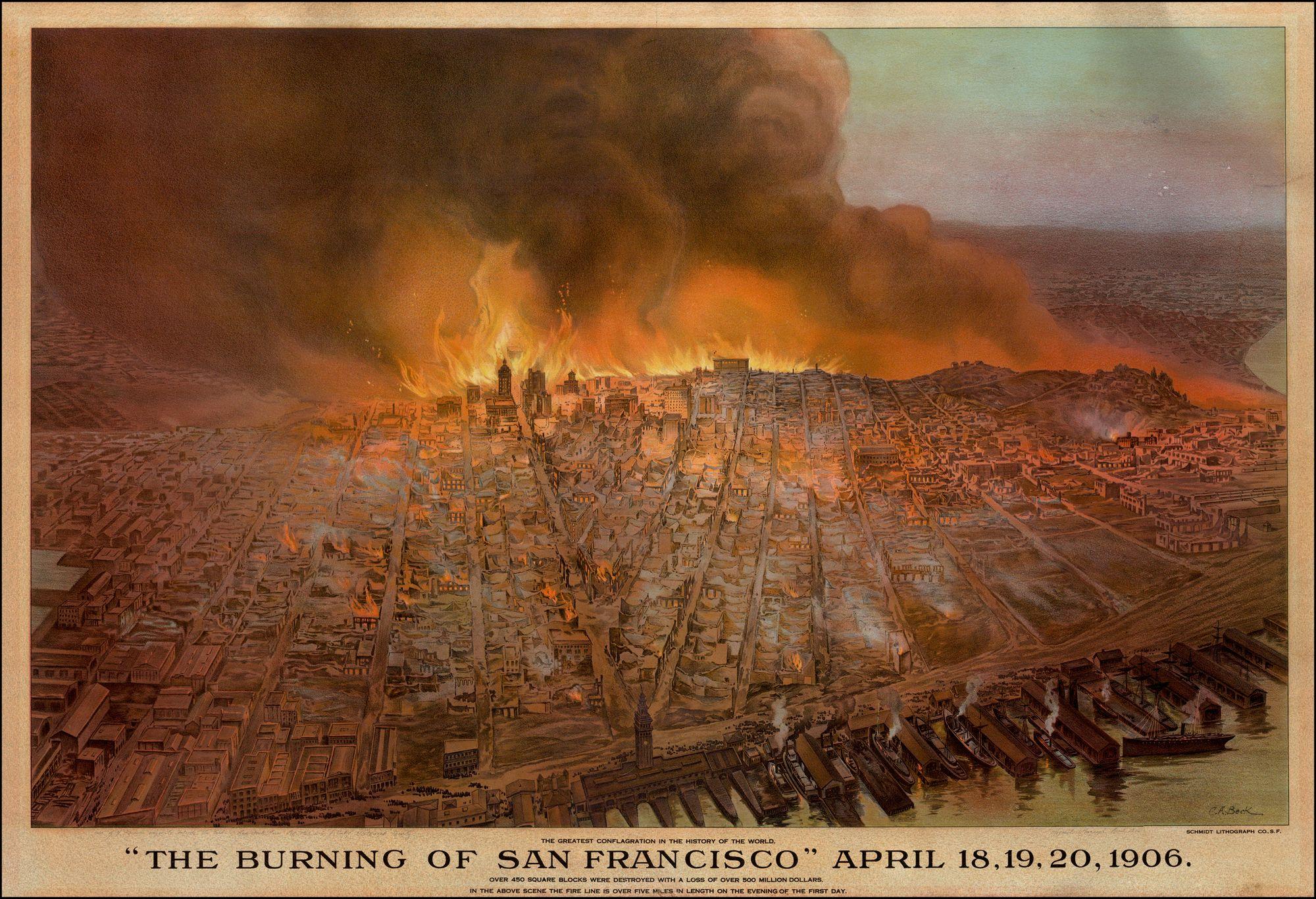 The Burning of San Francisco 1906: Rare Maps