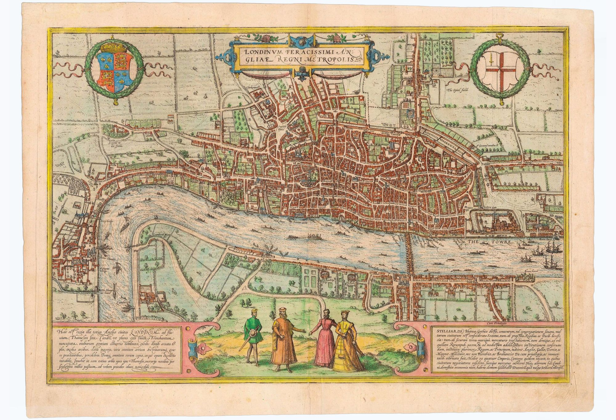 1572 plan mapping The City of London. Published in Civitates Orbis Terrarum 1574