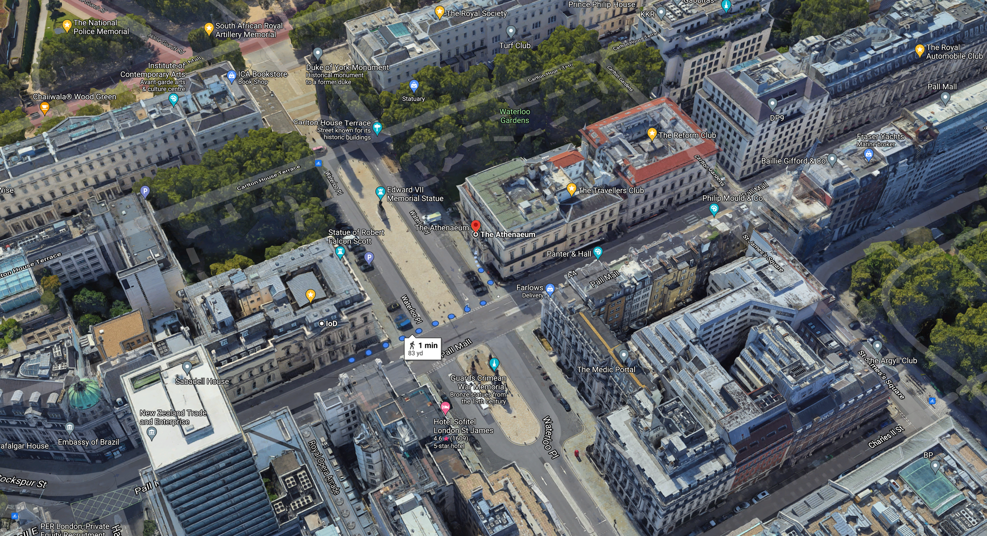 Aerial view of (L) Institute of Directors and (R) The Athenaeum Club along Pall Mall: Google Earth 2021