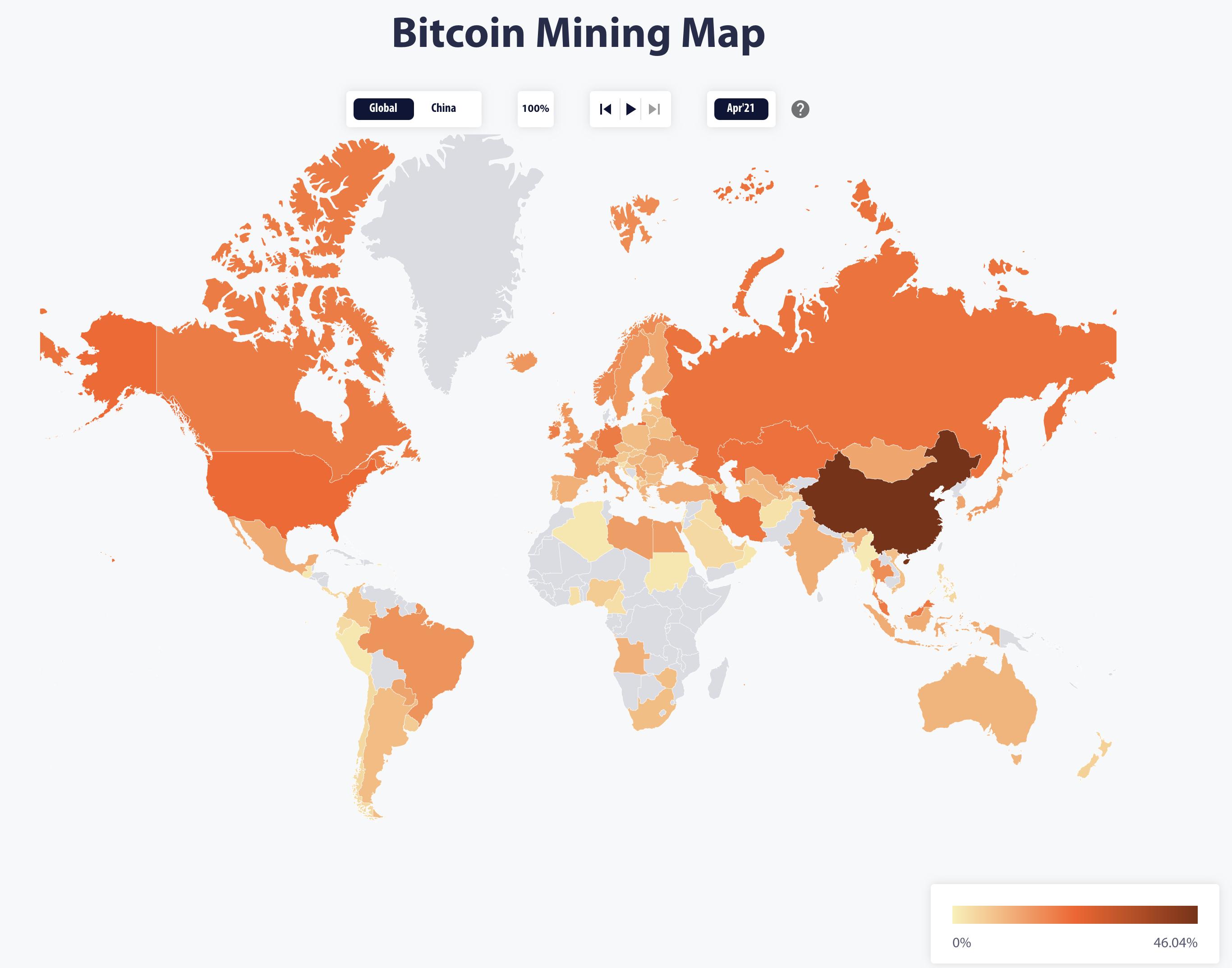 Worldwide Bitcoin Electricity Consumption Index April 2021: Cambridge Centre of Alternative Finance