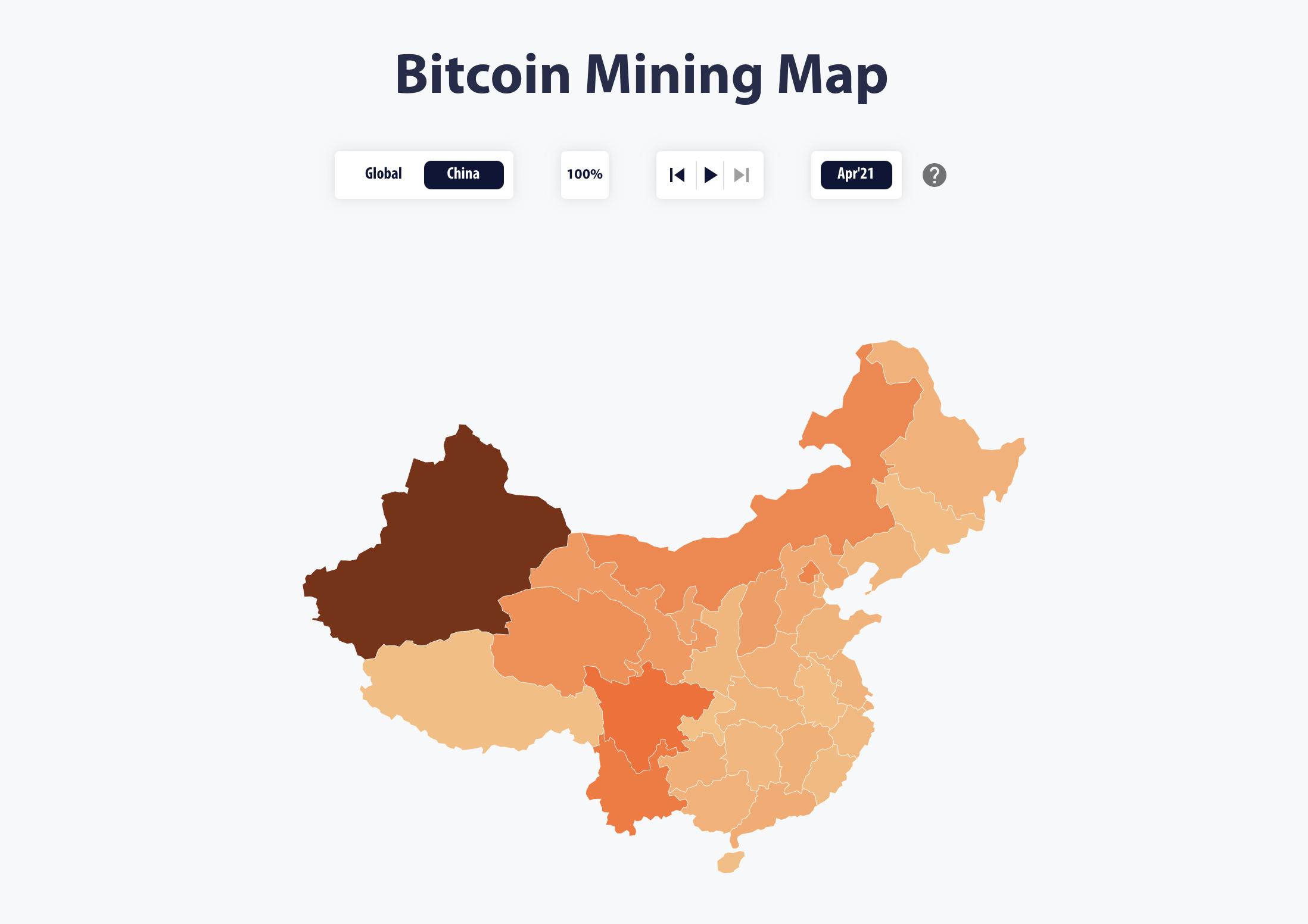 China's Bitcoin Electricity Consumption Index April 2021: Cambridge Centre of Alternative Finance