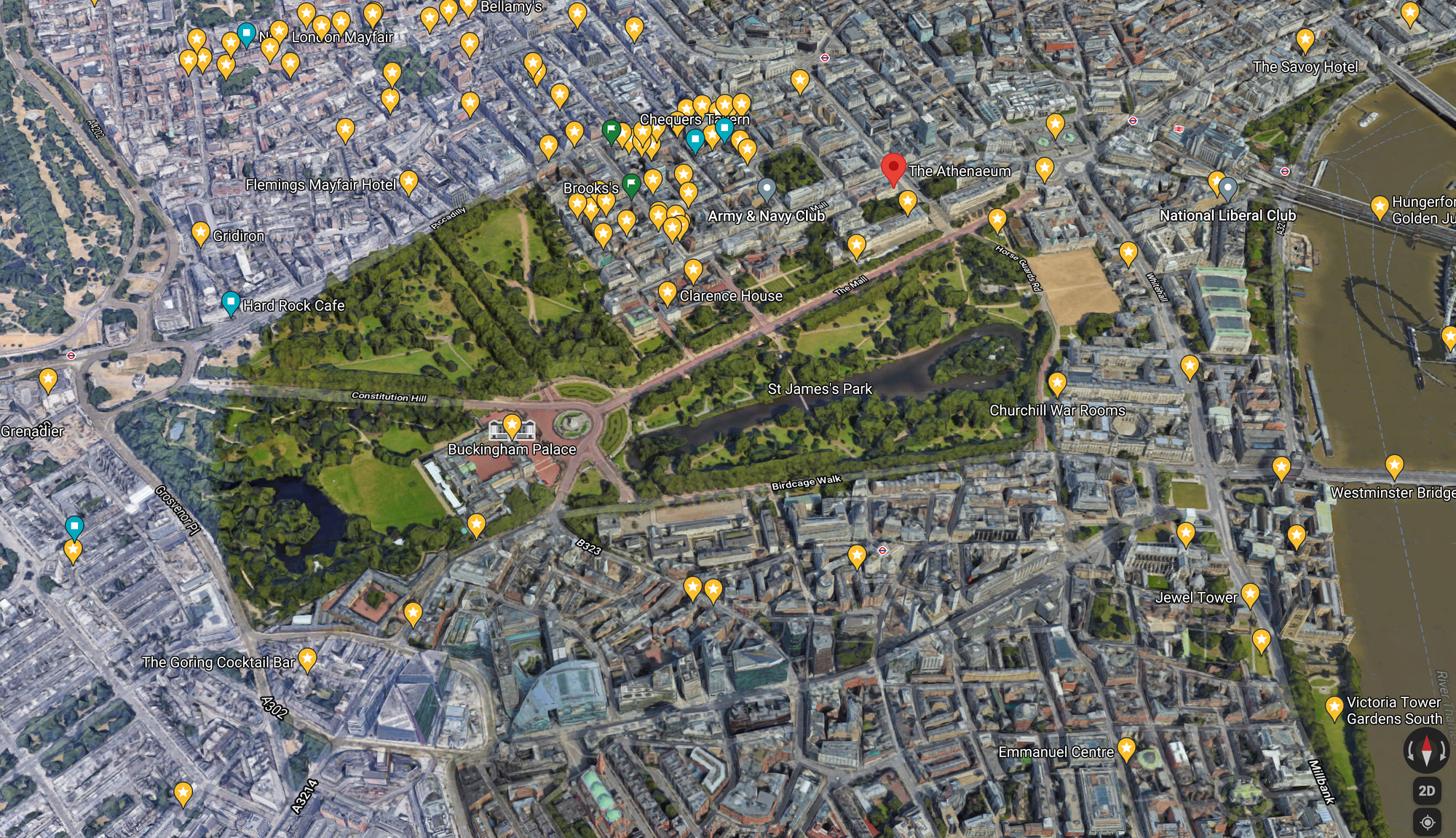 Present day arial view of The City of Westminster, including The Parish of St James's and Mayfair: Google Earth 2021