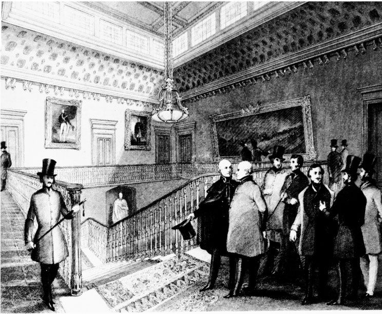 Etching of Staircase Landing in United Service Club from 1841: Surveys of London Vol. 29-30