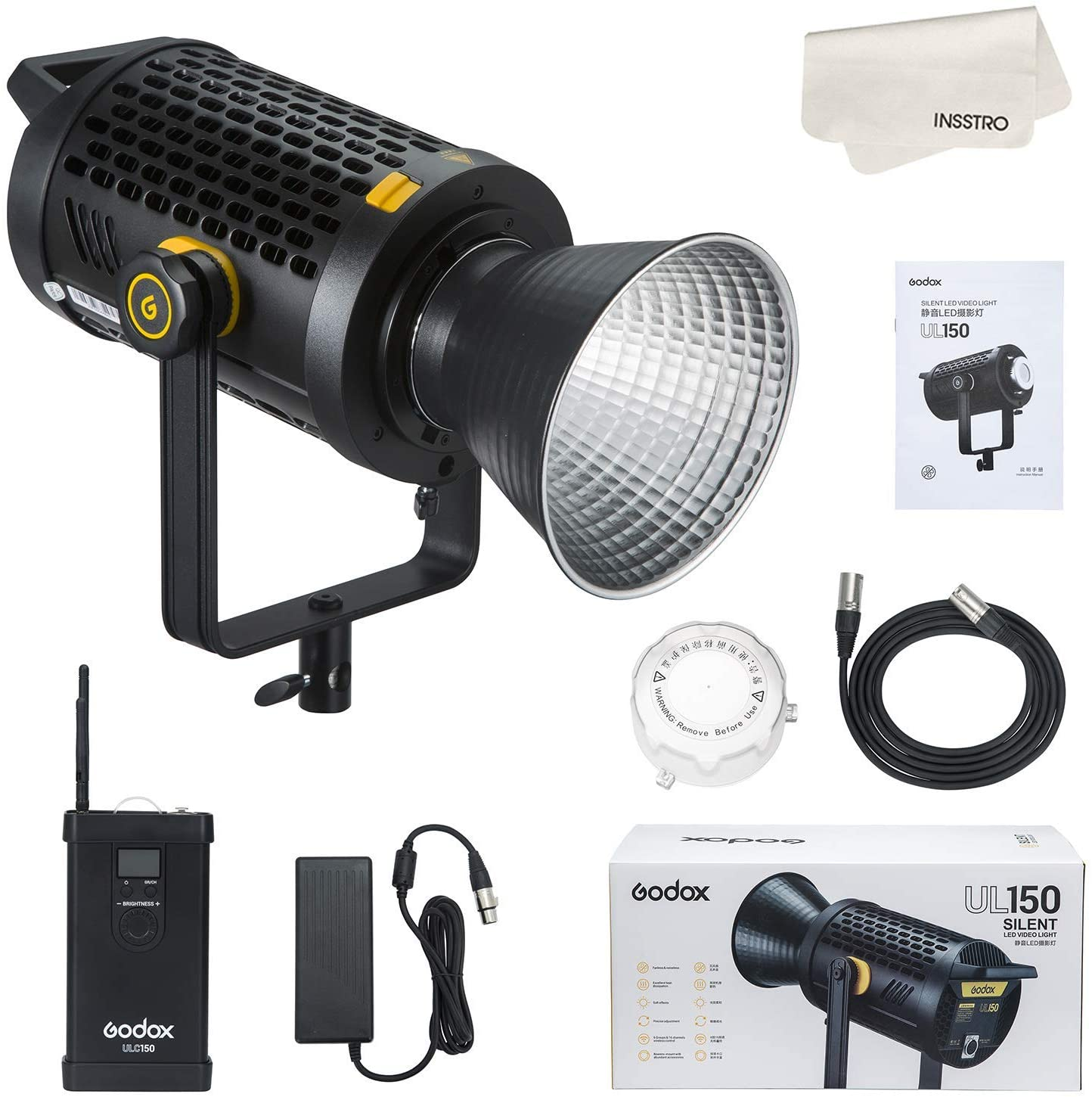 Godox UL150 Continuous LED Light with reflector, remote and power supply.